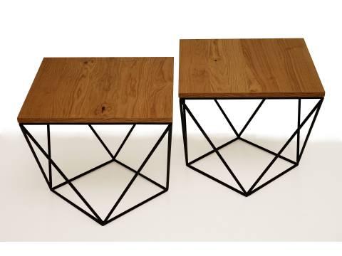 B11 Podwójny stolik na metalowych nóżkach