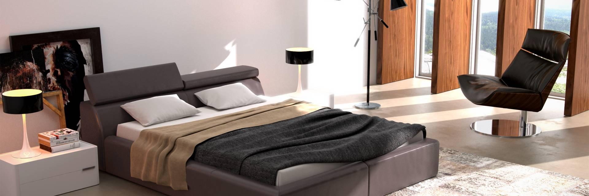 Czarne tapicerowane łóżko z regulowanymi zagłówkami