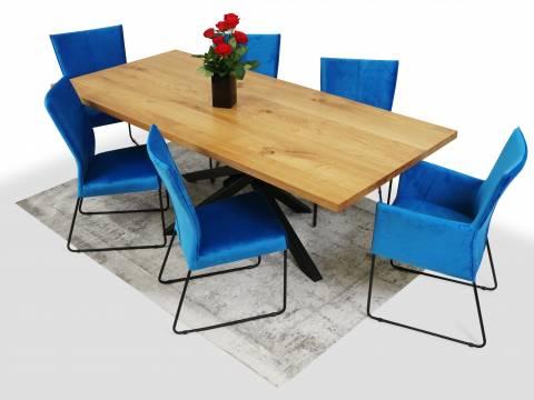 Stół z litego drewna dębowego krzesła na czarnych płozach